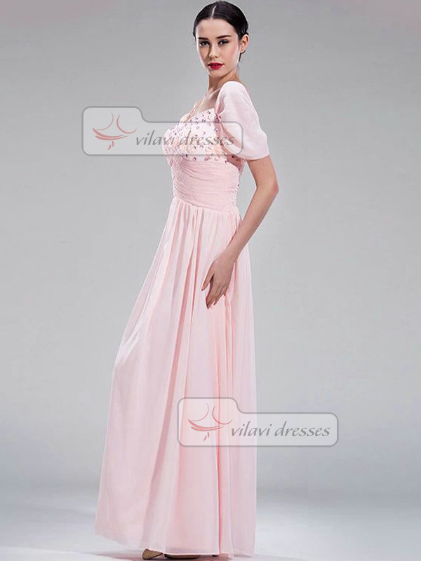 Column Spaghetti Straps Floor-length Chiffon Crystal Prom Dresses With Flower