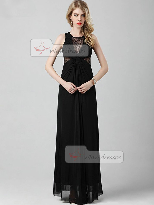 Column Round Brought Floor-length Chiffon Lace Evening Dresses With Semi Transparent