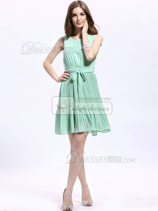 Column Round Brought Short Chiffon Sashes Prom Dresses