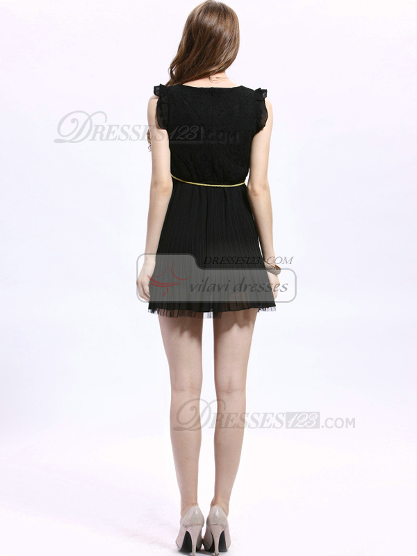 A-line Round Brought Mini Lace Ribbons Prom Dresses