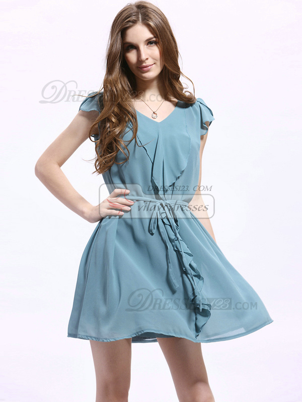 A-line V-neck Short Chiffon Ribbons Prom Dresses