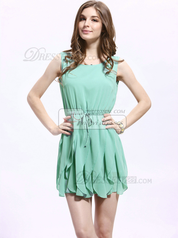 A-line Round Brought Mini Chiffon Homecoming Dresses