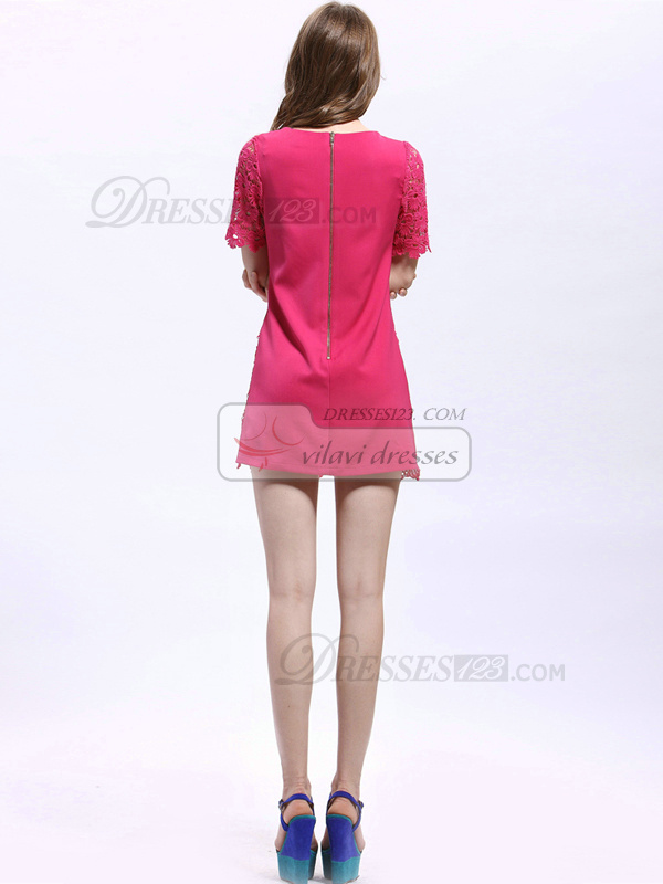 Sheath Lace Round Brought Short Cocktail Dresses