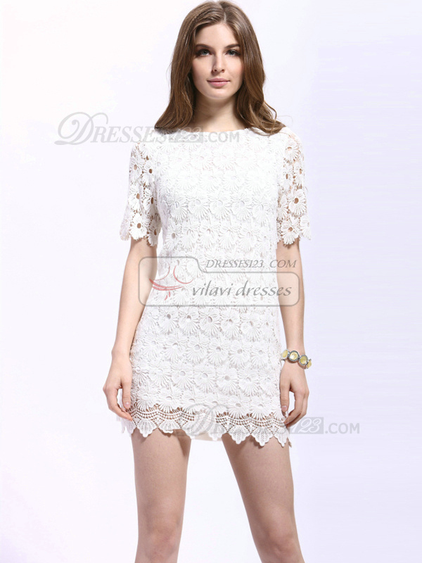 Sheath Mini Lace Round Brought Cocktail Dresses