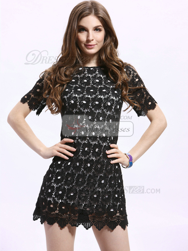 Sheath Round Brought Short Lace Cocktail Dresses