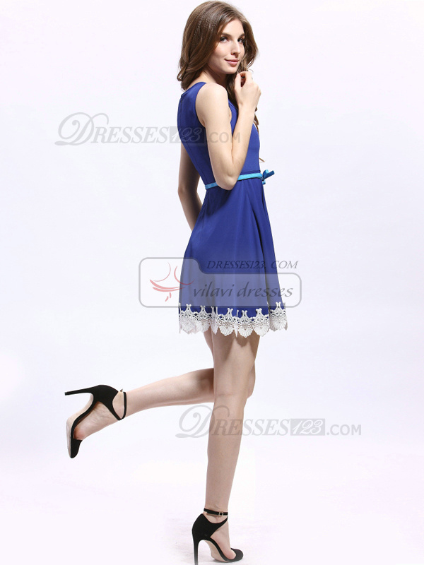 A-line Round Brought Chiffon Mini Lace Prom Dresses