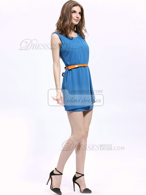 Sheath Round Brought Short Chiffon Sashes Cocktail Dresses