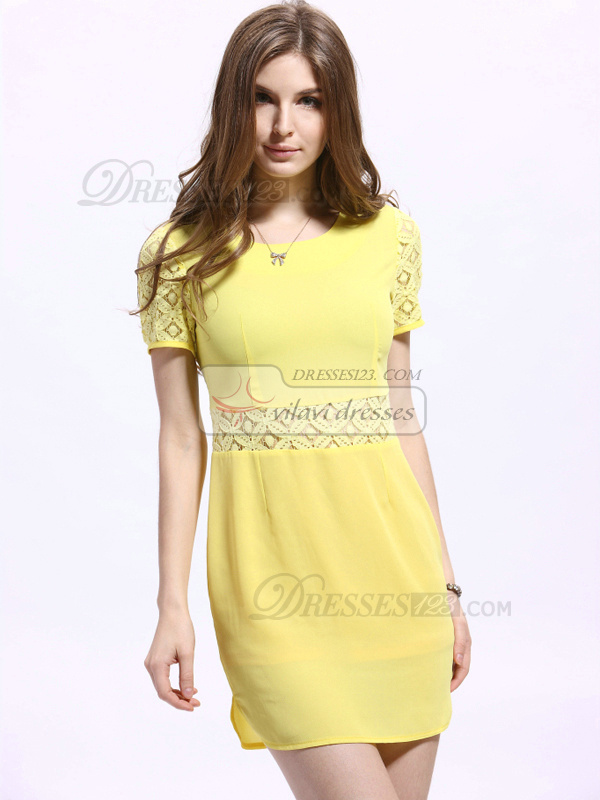Sheath Mini Chiffon Round Brought Homecoming Dresses