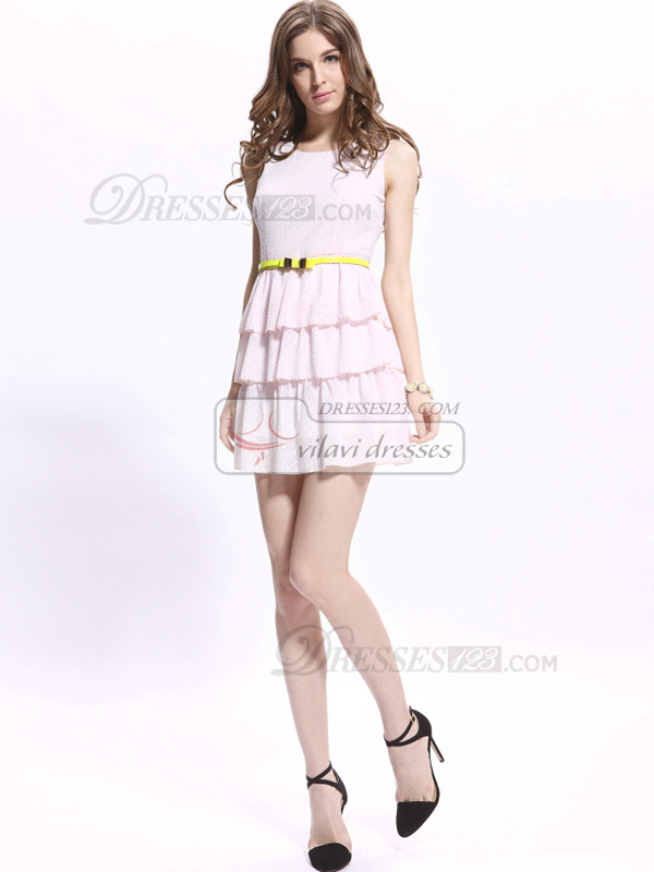 A-line Short Round Brought Chiffon Sashes Homecoming Dresses