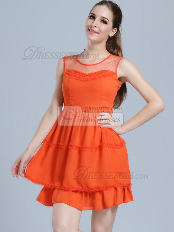 A-line Round Brought Chiffon Short Draped Homecoming Dresses