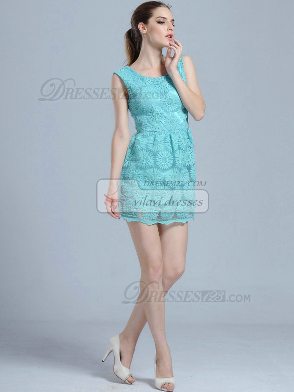 A-line Round Brought Mini Lace Homecoming Dresses