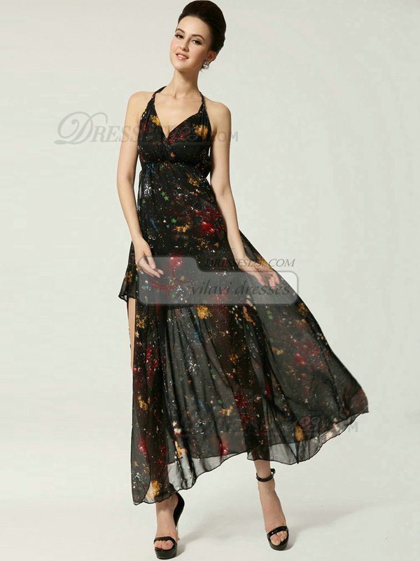 Column V-neck Ankle-length Chiffon Print Side Split Prom Dresses