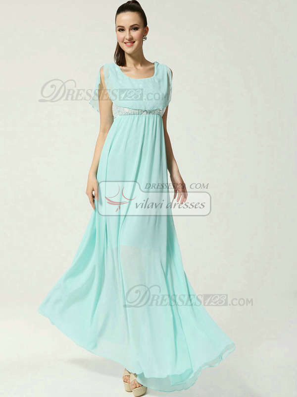 Column Scoop Floor-length Chiffon Lace Prom Dresses