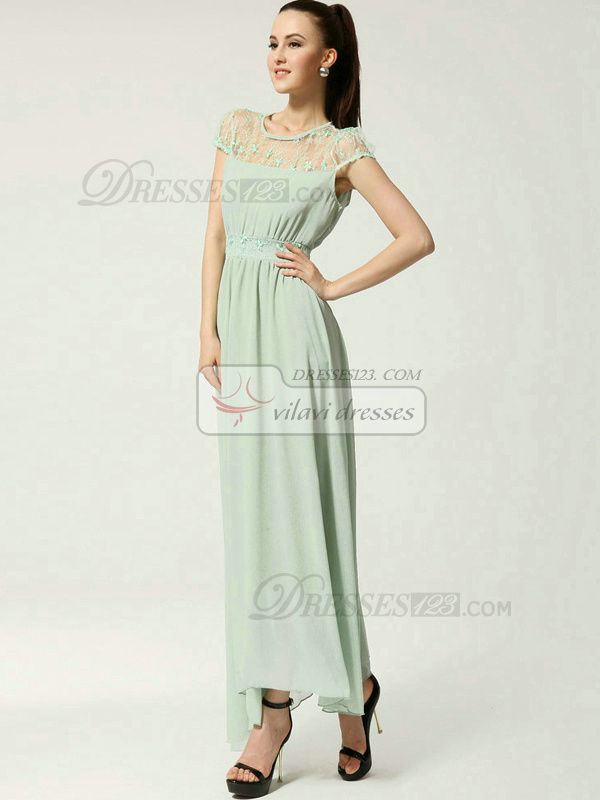 A-line Round Brought Ankle-length Chiffon Dresses With Lace Semi Transparent