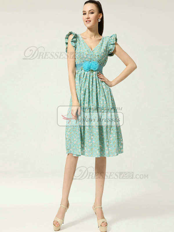 A-line V-neck Knee-length Chiffon Print Prom Dresses