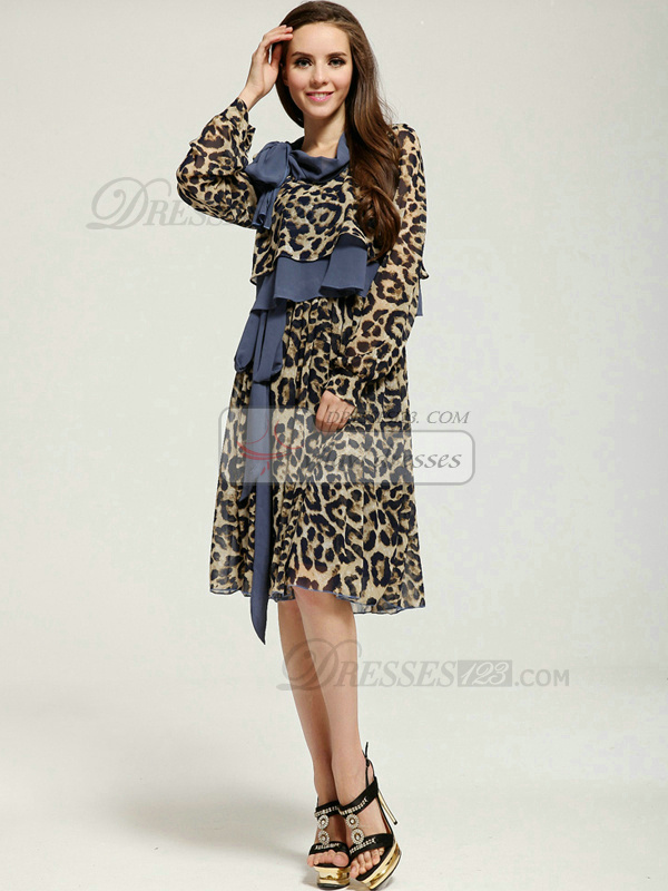 A-line Tea-length Long Sleeve Chiffon Prom Dresses With Asymmetrical Collar