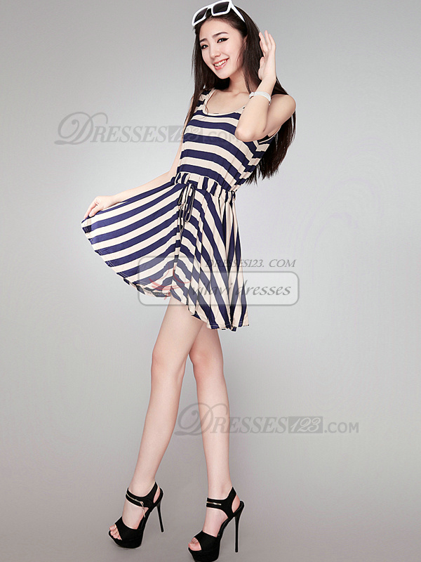 A-line Scoop Short Cotton Sashes Blue Prom Dresses