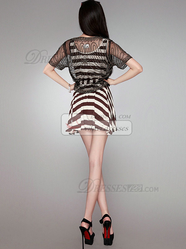 A-line Scoop Short Cotton Sashes Brown Prom Dresses