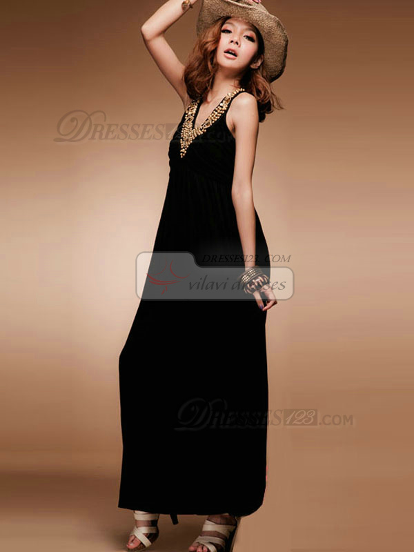 Sheath V-neck Ankle-length Cotton Black Maxi Dresses