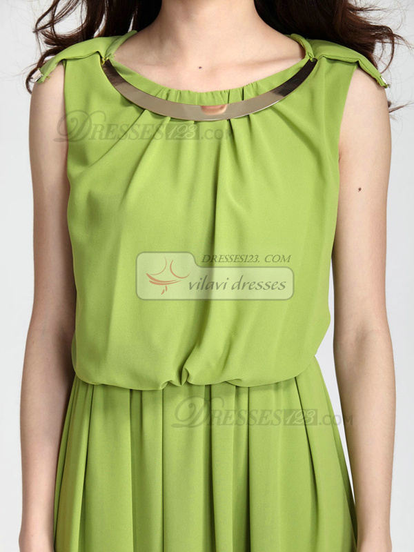Sheath Round Brought Ankle-length Chiffon Green Prom Dresses