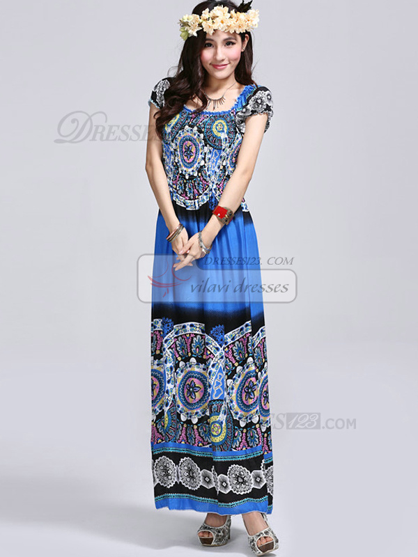 Sheath Scoop Ankle-length Cotton Print Blue Maxi Dresses