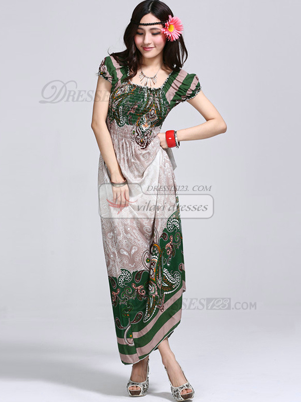Sheath Scoop Ankle-length Cotton Print Green Maxi Dresses
