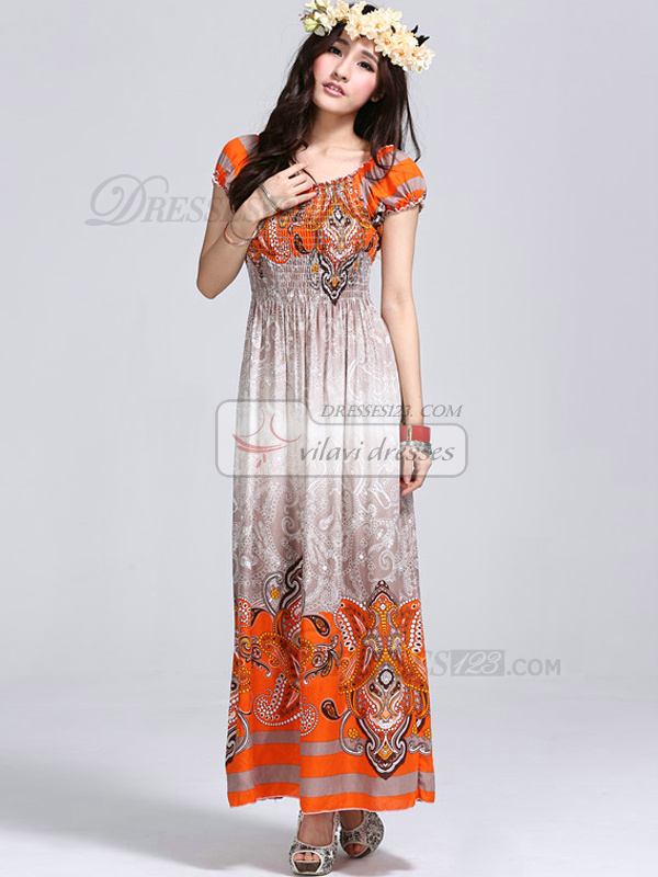Sheath Scoop Ankle-length Cotton Print Orange Maxi Dresses