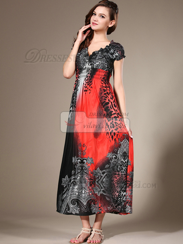 Sheath Scoop Ankle-length Chiffon Print Red Maxi Dresses