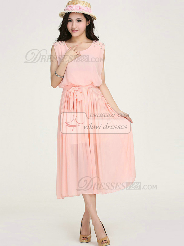 Sheath Scoop Tea-length Chiffon Beading Sashes Pink Prom Dresses