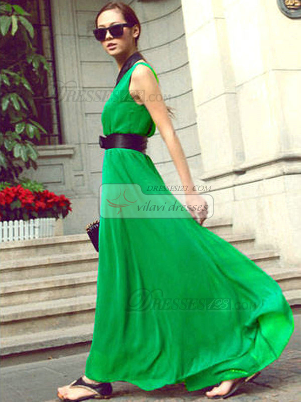Sheath V-neck Ankle-length Chiffon Sashes Hunter Maxi Dresses