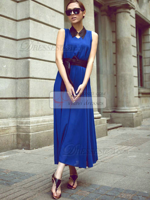 Sheath V-neck Ankle-length Chiffon Sashes Royal Blue Maxi Dresses