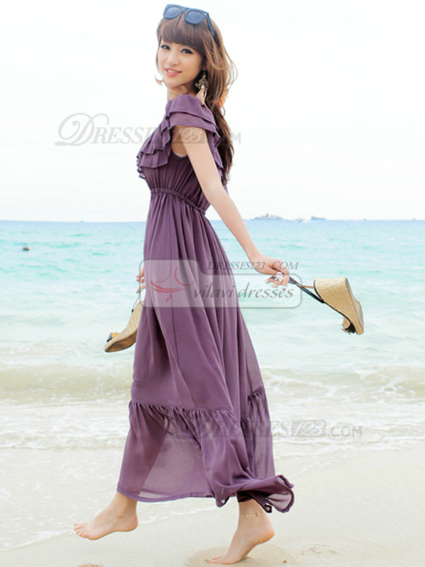 A-line Off-the-shoulder Ankle-length Chiffon Grape Maxi Dresses