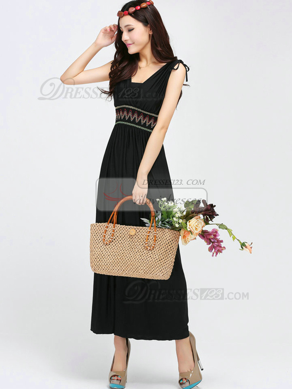Sheath V-neck Ankle-length Chiffon Black Maxi Dresses