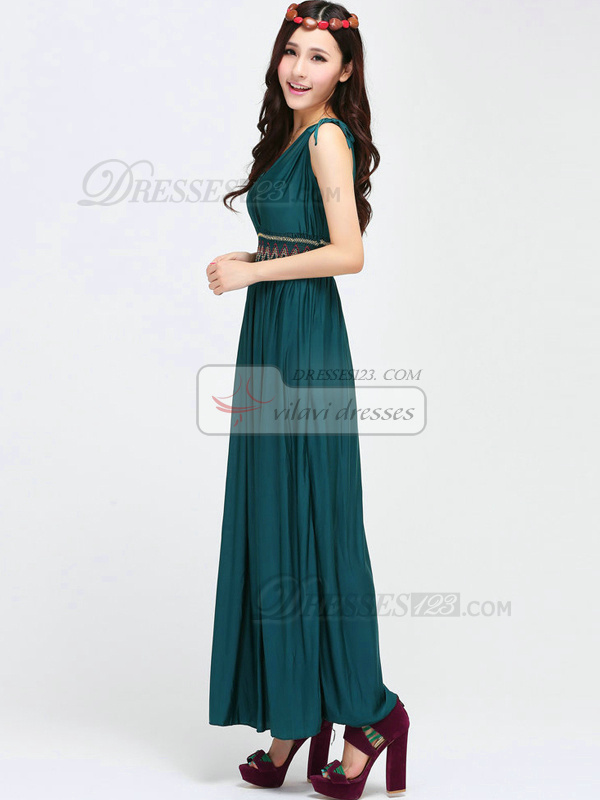 Sheath V-neck Ankle-length Chiffon Dark Green Maxi Dresses