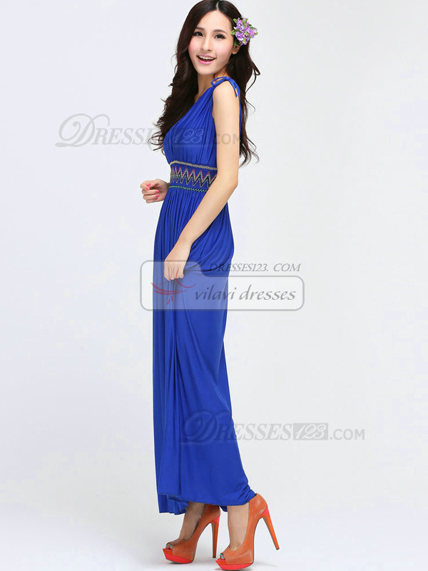 Sheath V-neck Ankle-length Chiffon Royal Blue Maxi Dresses