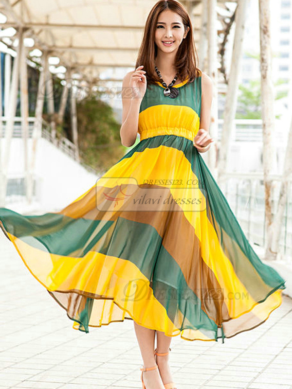 Sheath Scoop Ankle-length Chiffon Daffodil Maxi Dresses