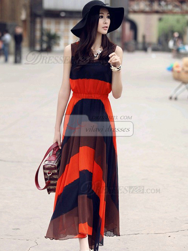 Sheath Scoop Ankle-length Chiffon Red Maxi Dresses