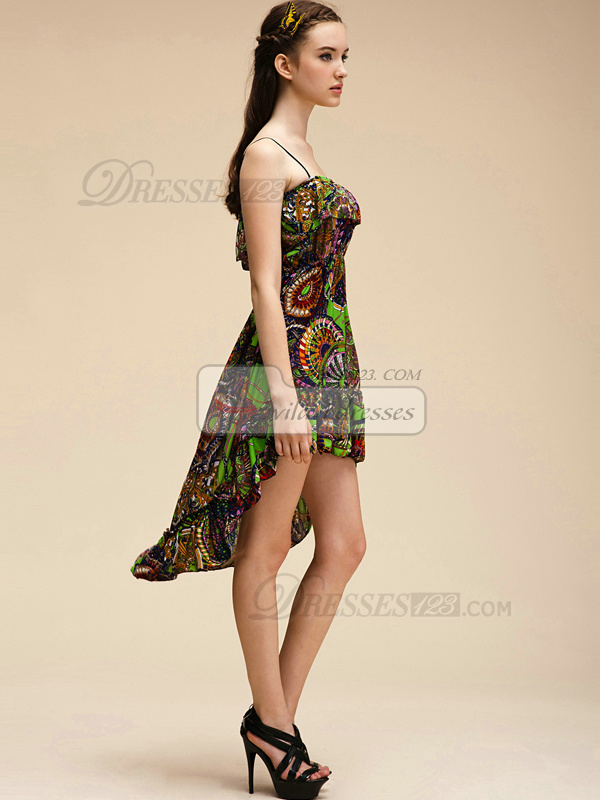 A-line Straps Short High Low Chiffon Print Prom Dresses