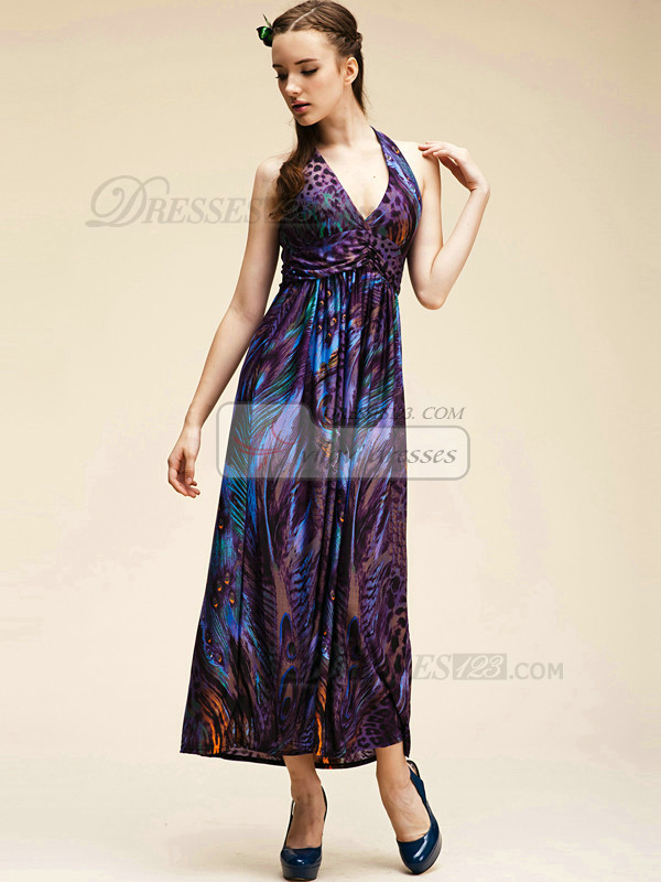 Column Meryl V-neck Ankle-length Print Maxi Dresses
