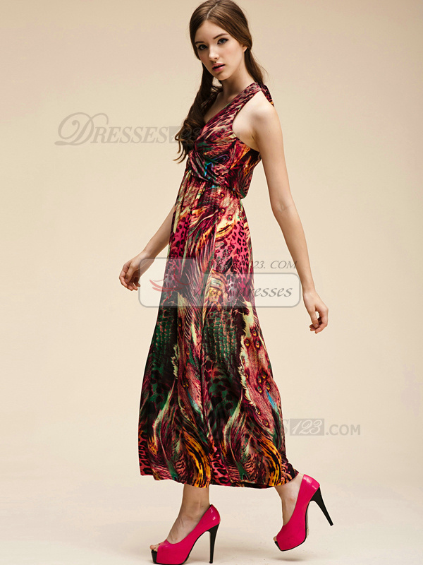 Sheath V-neck Halter Ankle-length Chiffon Print Red Maxi Dresses