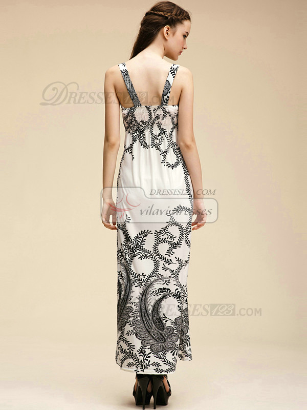 Column Straps Ankle-length Meryl White Maxi Dresses With Print