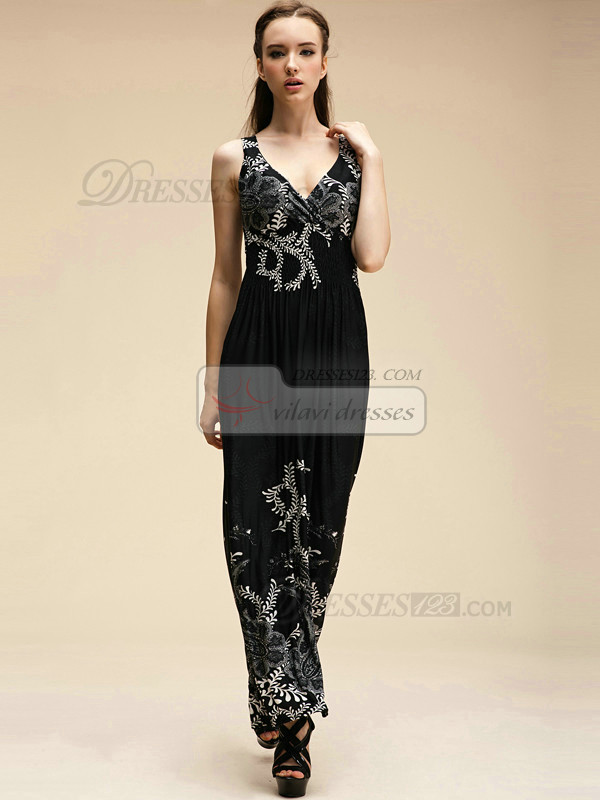 Column Straps Ankle-length Meryl Black Maxi Dresses With Print
