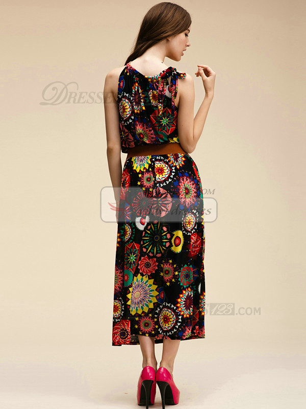 Column Round Brought Ankle-length Meryl Detachable Black Maxi Dresses With Print