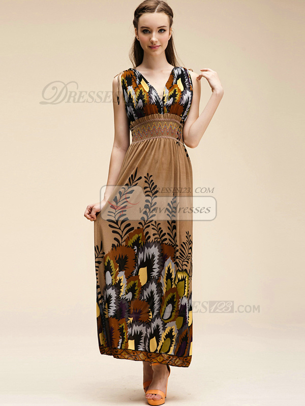 Sheath V-neck Ankle-length Chiffon Print Brown Maxi Dresses