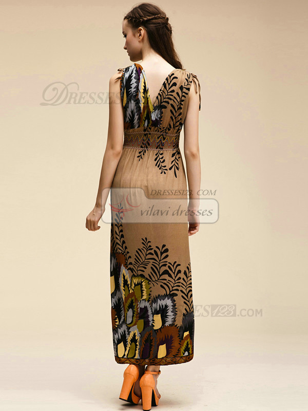 Column V-neck Ankle-length Meryl Chocolate Maxi Dresses With Print