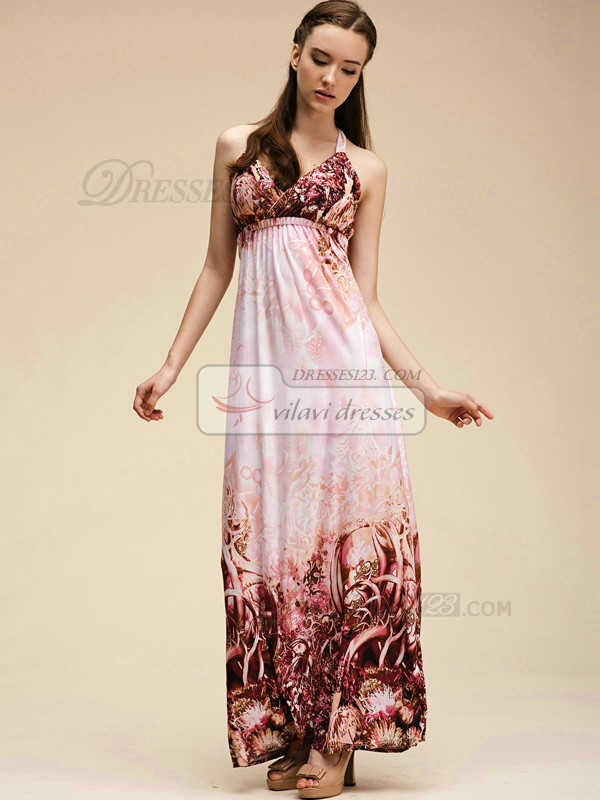 Column Halter Ankle-length Meryl Pink Maxi Dresses With Print