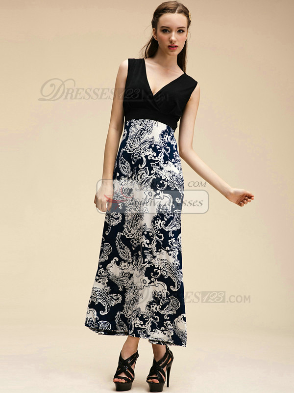 Column V-neck Ankle-length Crystal Linen Blue Maxi Dresses With Print