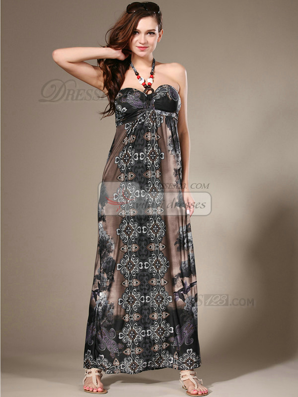 Sheath Halter Ankle-length Chiffon Print Gray Maxi Dresses