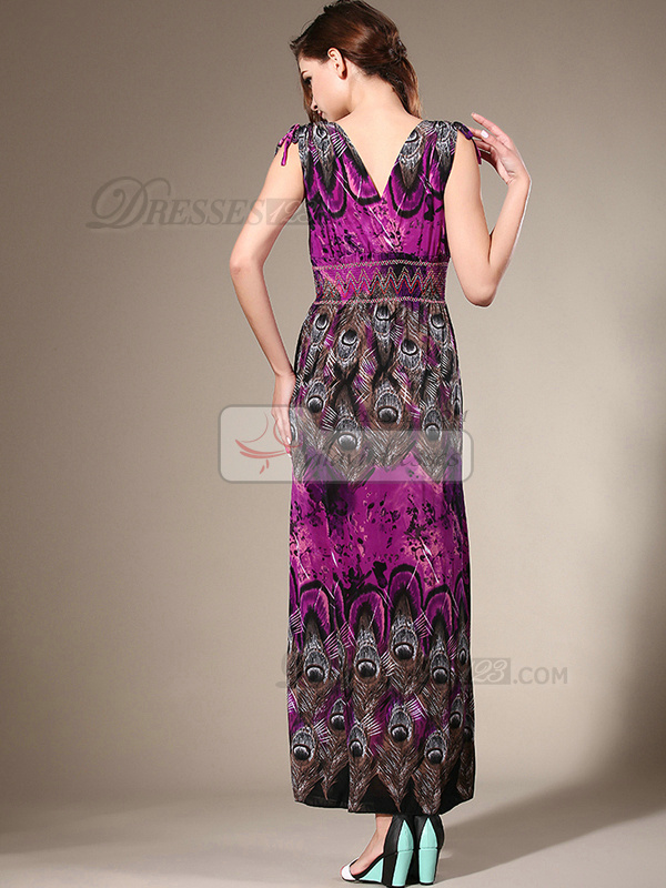 Sheath Straps Ankle-length Chiffon Maxi Dresses With Print
