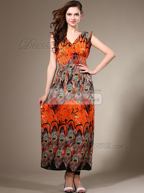 Sheath Straps Chiffon Ankle-length Maxi Dresses With Print